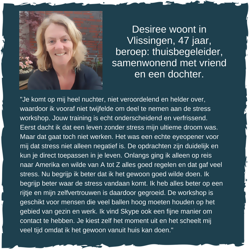 Desiree volgt de GOOD stress workshop bij Coaching Vitaal