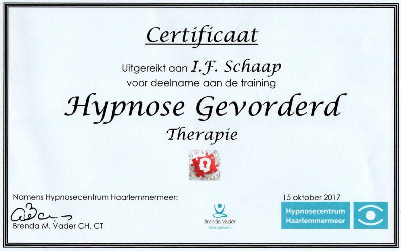 Certificaat Hypnose gevorderd