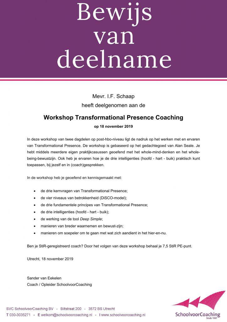 Coaching Vitaal hanteert Transformational Presence in haar coaching